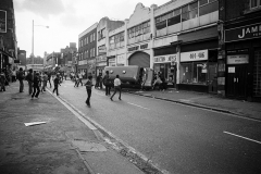 Coldharbour Lane later in the day as things start to turn unpleasant. The police were making snatch raids on ringleaders using vans, which in those days had no riot protection.